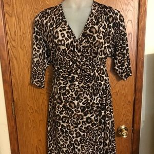 Kiyonna Leopard Cheetah Print Faux Wrap Dress 3x